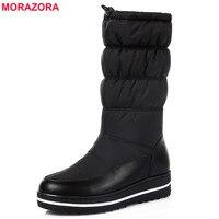 MORAZORA 2017 New Style Genuine Leather Snow Boots Women Thick Fur Warm Down Mid Calf Winter