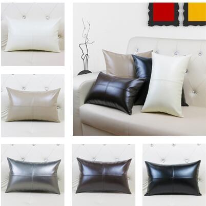 US $14.55 9% OFF Imitation Leather pillow case 30X45CM PU leather cushion  cover pillowcase sofa back cushion cover backrest-in Cushion Cover from  Home ...