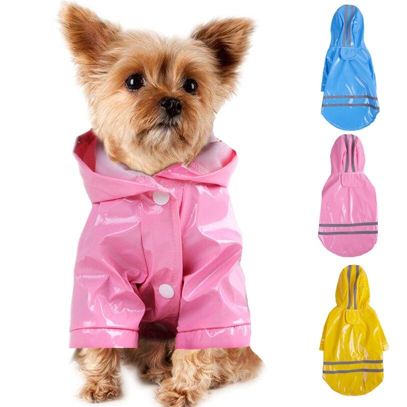 Abrigo de lluvia para mascotas, para exteriores, de verano, S-XL, con capucha, impermeable, de PU, para perros, gatos, ropa al por mayor, # F #40JE14