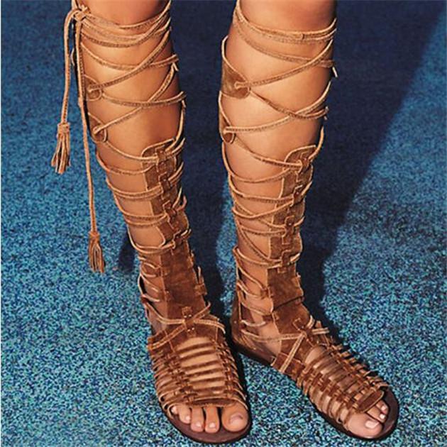 e1dca282ec82 Boho Bohemian Style Newest Fashion Summer Boots Cross-Tie Fringe Flat Heel  Gladiator Sandals Women Knee High Woman Shoes