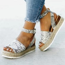 c991dce5eb (Ship from US) WENYUJH Brand Ladies Sandals Shoes Womens Open Toe Ankle  Pumps Straw Thick Bottom Shoes Snake Grain Roman Sandals chaussures