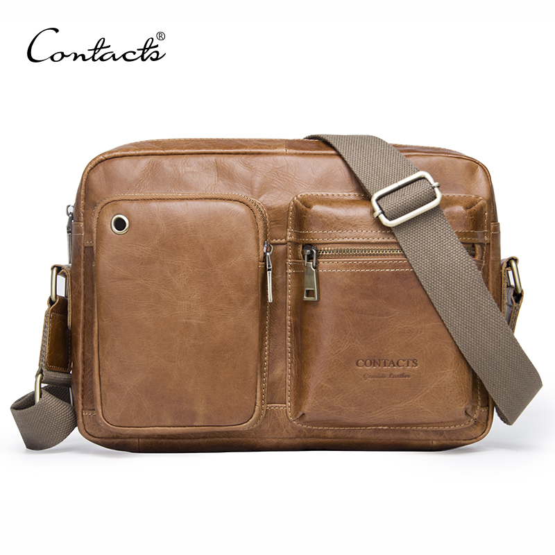 CONTACT S genuine leather men s shoulder bag man bolsa male bag fashion men messenger bag