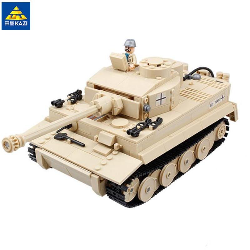 KAZI 995pcs Century Military Panzer King Tiger Tank Building Blocks Brick Toy 82011 995pcs 82011 century military german king tiger tank cannon building blocks bricks model sets toys for children gifts