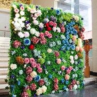 2 м x 2 м трава зеленая с красочный свадебный цветок стены цветок на фоне розы и Пион Свадебные украшения