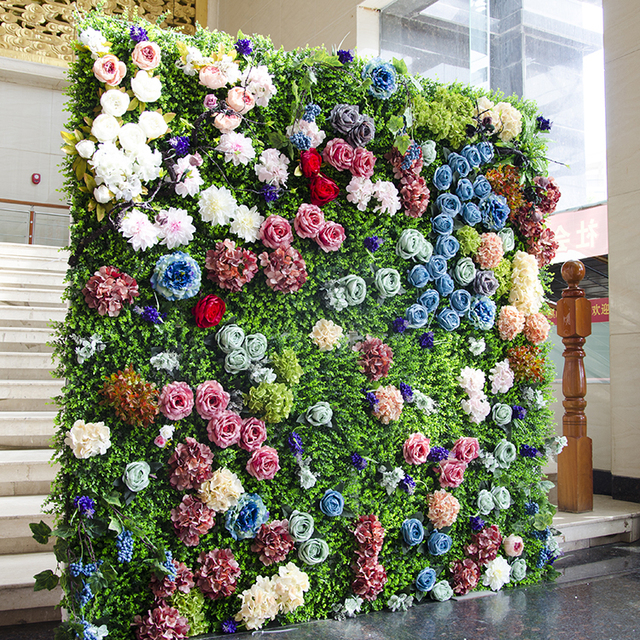 2m x 2m grass green with colorful wedding flower wall flower