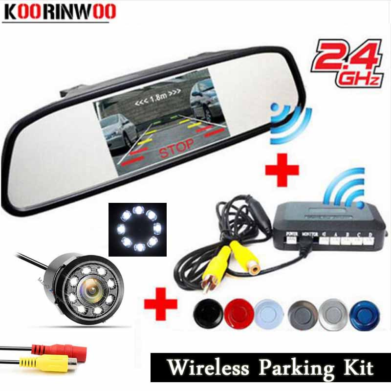 Koorinwoo 2 4G Wireless Car parking Sensor Radars Video system Parktronic Rear view Monitor mirror Car