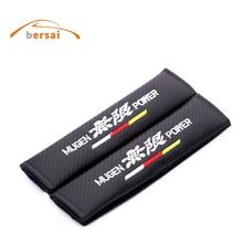 2pcs Carbon fiber seat belt cover shoulder pad JDM car styling for MUGEN power for HONDA civic CRV CRZ URV interior accessories цена