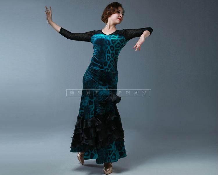 Latin Dress Latin Fringe Dress Dance Costumes for Winter Adult Women Ballroom Waltz Tango Sets Shirt+skirt Good Quality