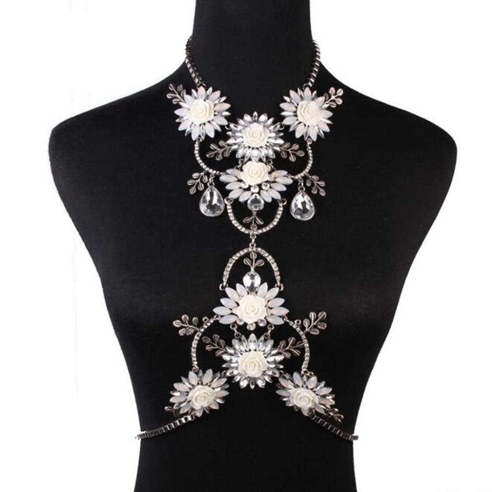 High Quality Rhinestone Crystal Flower Dip Tassel Charms Choker Necklace Bib Statement Body Waist Chain Jewelry Accessory