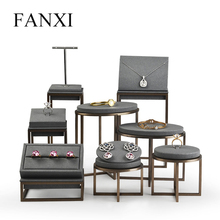 FANXI  New Metal Jewelry Display Stand Set Black Ring Necklace Bracelet Holder Shelf Leather Organizer Showcase