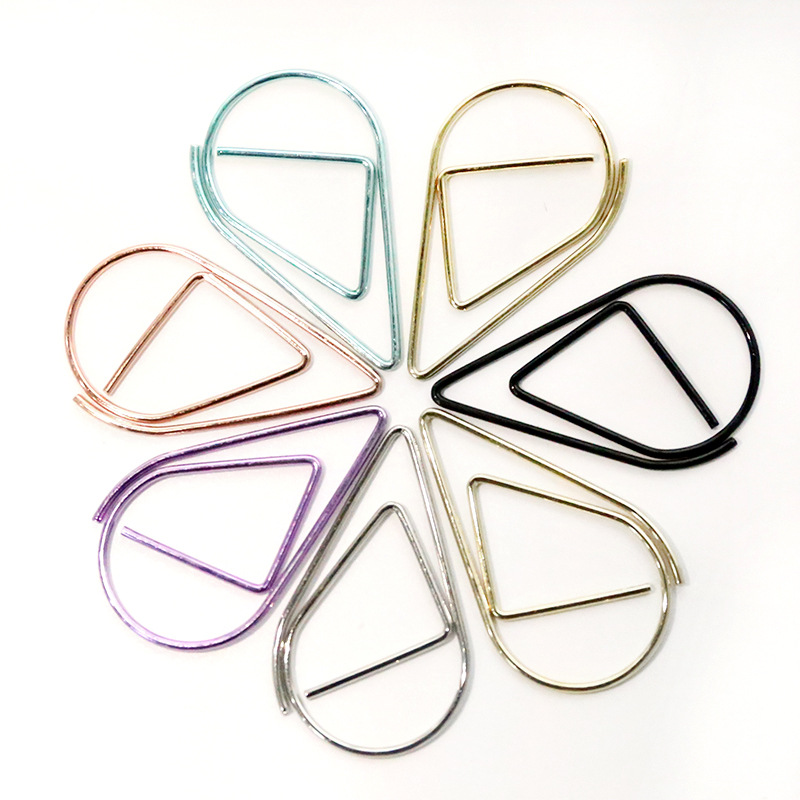 10 Pcs/lot Cute Rose Gold Binder Clips Kawai Paperclip Creative Waterdrops Metal Clamps For Message Office School Supplies
