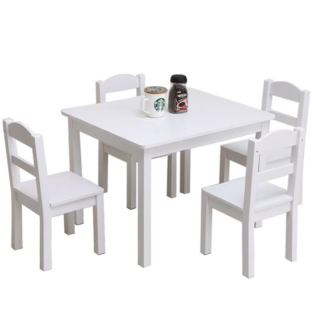 High Quality Kids Wood Table & 4 Chairs Set White Child  For Eating Reading Books  Coloring Arts And Crafts Playing Board Game