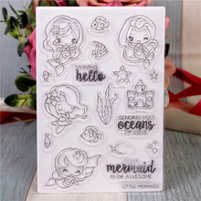 купить Rubber Silicone Clear Stamps for Scrapbooking Tampons Transparents Seal Background Stamp Card Making Diy Cartoon mermaid Stempel недорого