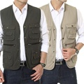 Free Shipping Multi-pocket Men Vest Single Breasted Photography Director Vest Middle-aged Waistcoat Asian/Tag Size XL-3XL