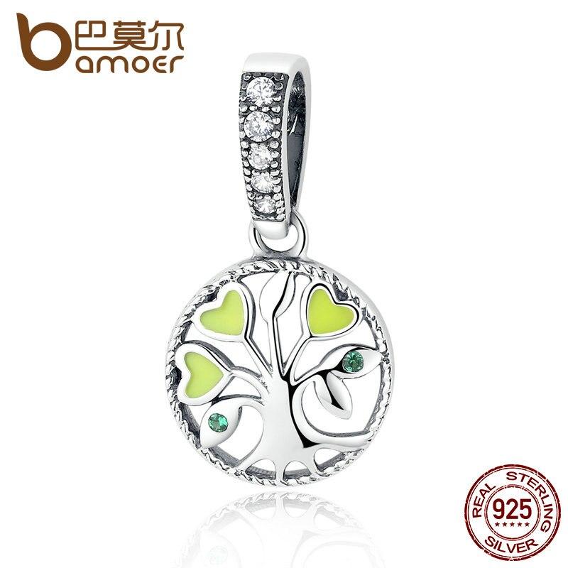 BAMOER 100% plata esterlina 925 corazón verde árbol de la vida cupieron las pulseras y la joyería SCC116