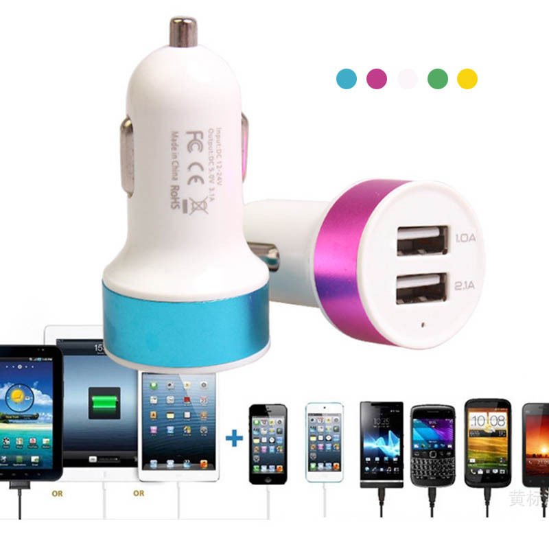 2 Port Mini Dual USB Round Charger Adapter Bullet For iPhone Samsung Pad Tablet