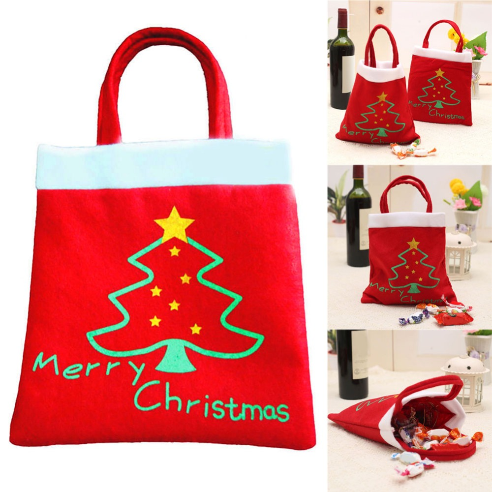 Christmas Tree Bags.30 21cm Christmas Candy Bag Christmas Tree Home Party Gift Decoration Bags Christmas Decorations