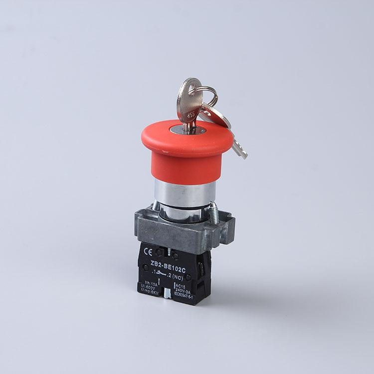 Кнопочный переключатель XB2-BS142 XB2-BS145 грибной головной ключ для выпуска, кнопочные переключатели