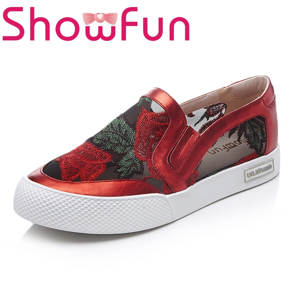 Showfun genuine leather shoes woman casual fretwork loafers showfun 2018 genuine leather retro faux