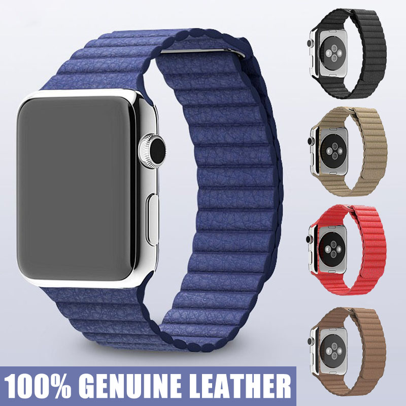 Leather Loop For Apple font b Watch b font Quilted Venezia Leather Adjustable Magnetic Closure Loop