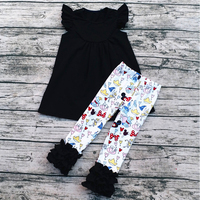 2017 Fashion kids fall outfits wholesale fall boutique girl clothing set girl mickey outfits