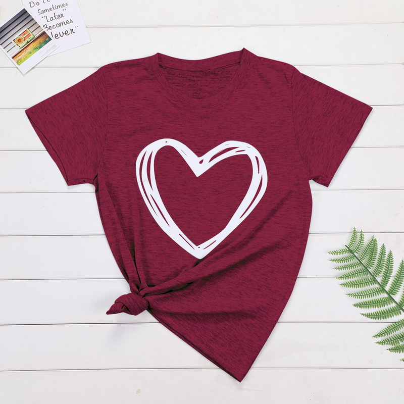 Plus Size 6XL 7XL 8XL Women Summer Heart Print Casual T-shirt Tops Lady Short Sleeve O-neck Loose Tops Tees Camisetas Mujer(China)