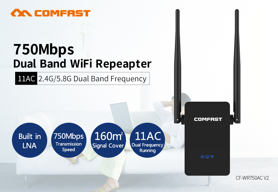750 Mbps Wifi Repeater 802.11AC COMFAST Dual Band 2.4G/5.8G Wi-fi Roteador wireless booster CF-WR750 v2 ac wi fi repeater Router comfast ac200 orange os system full gigabit wifi control ac gateway routing wireless roaming wifi coverage project manager route