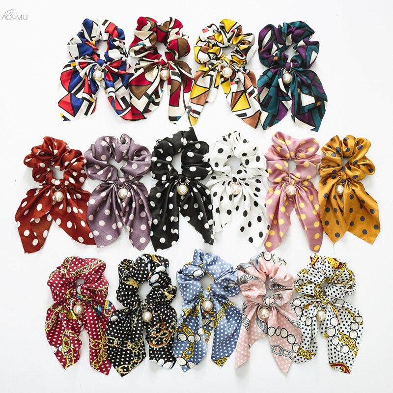AOMU Vintage Ponytail Holder Summer Headbands Pearl Hair Band For Women Bowknot Streamers Scrunchies Elastic Hair Ties