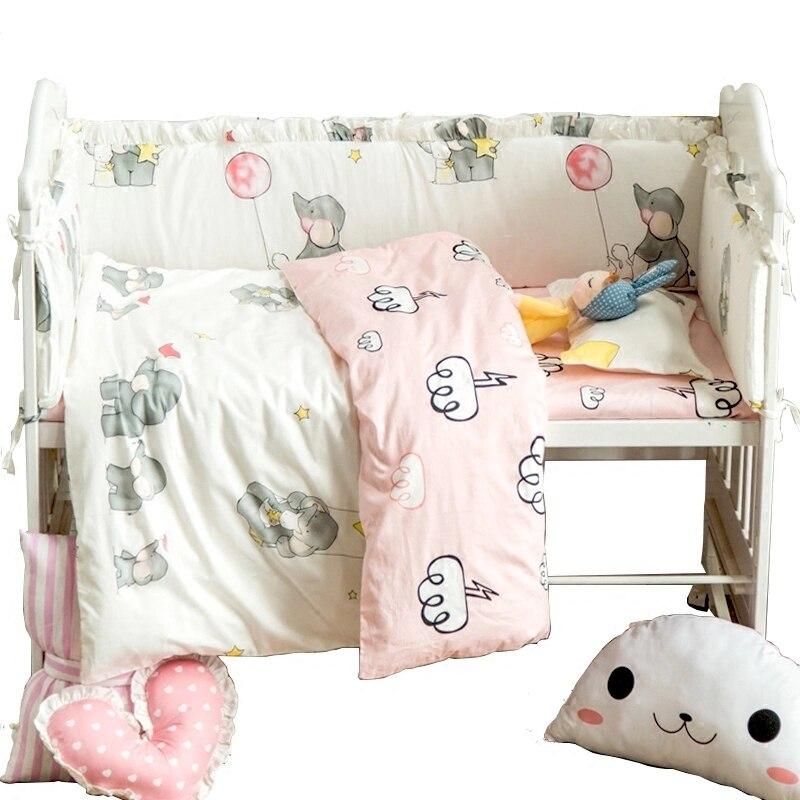 9pcs/set Baby Cot Bedding Set Cotton Newborn Kids Crib Bedding Sets Detachable Quilt Pillow Bumpers Sheet 7 Sizes Cot Bed Linen стоимость