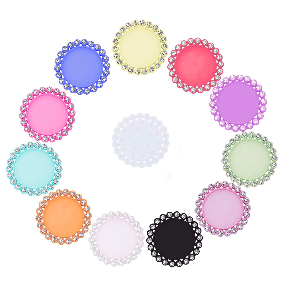 Free Shipping Inside Size 25mm&20mm Rhinestone Cap Button Setting For Cabochons Cameo 50PCS BTN-5654