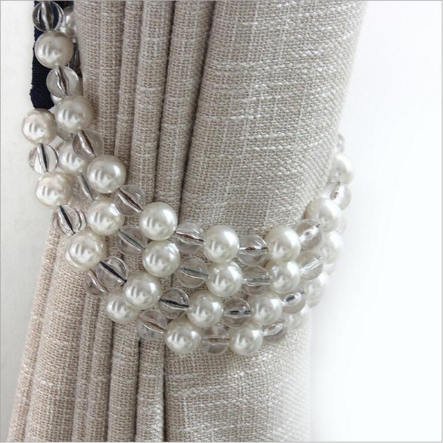 One pair pearl tie back for decoration curtain clips accessories Hanging Belt Ball curtain strap Curtain tassel tieback Buckle