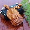 1 unid llaveros Llave Del Coche Colgante Budista Buda Avalokitesvara talla de Palo de rosa De Madera de madera de la Moda Llavero Titular
