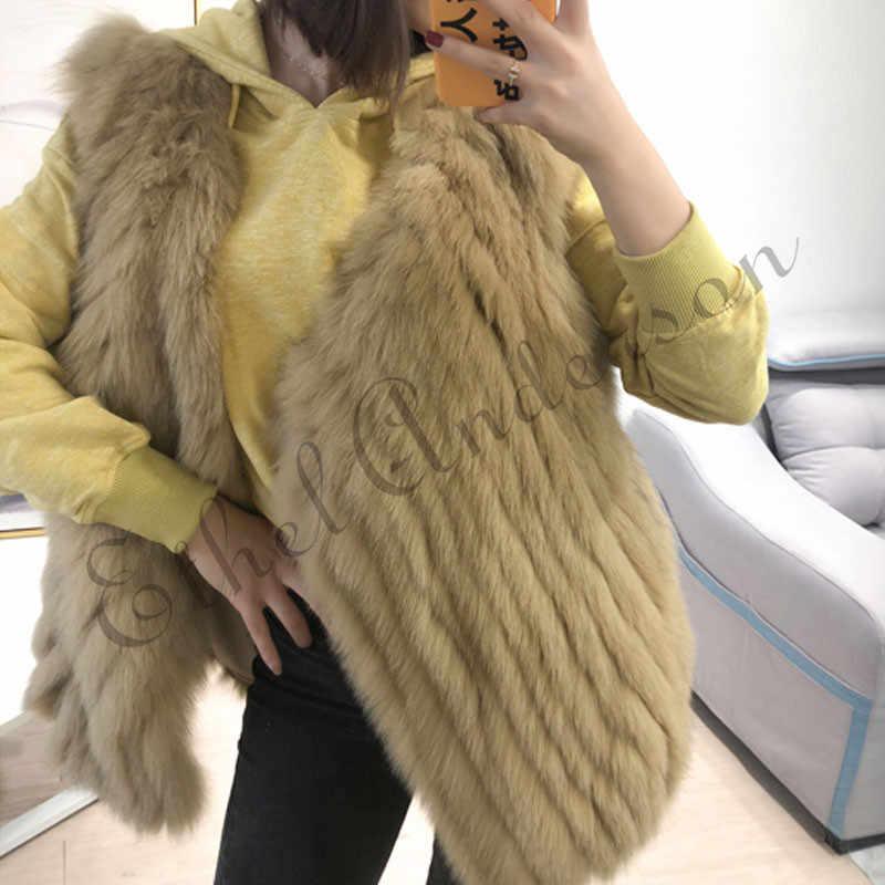 ETHEL ANDERSON của Phụ Nữ Bất Fox fur Vest Mở stitch Phong Cách Phụ Nữ Áo Ghi Lê Lông Thú Mùa Xuân Mùa Đông Ấm Hơn Cardigan Outwear Coat