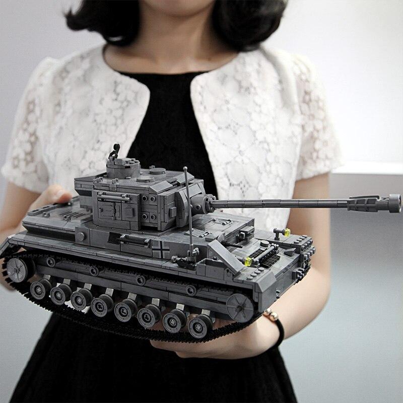 1193pcs 36cm Length Large Panzer IV F2 Tiger Tank Building Blocks Models Compatible Legoingly WW2 Military Army Tanks Toys