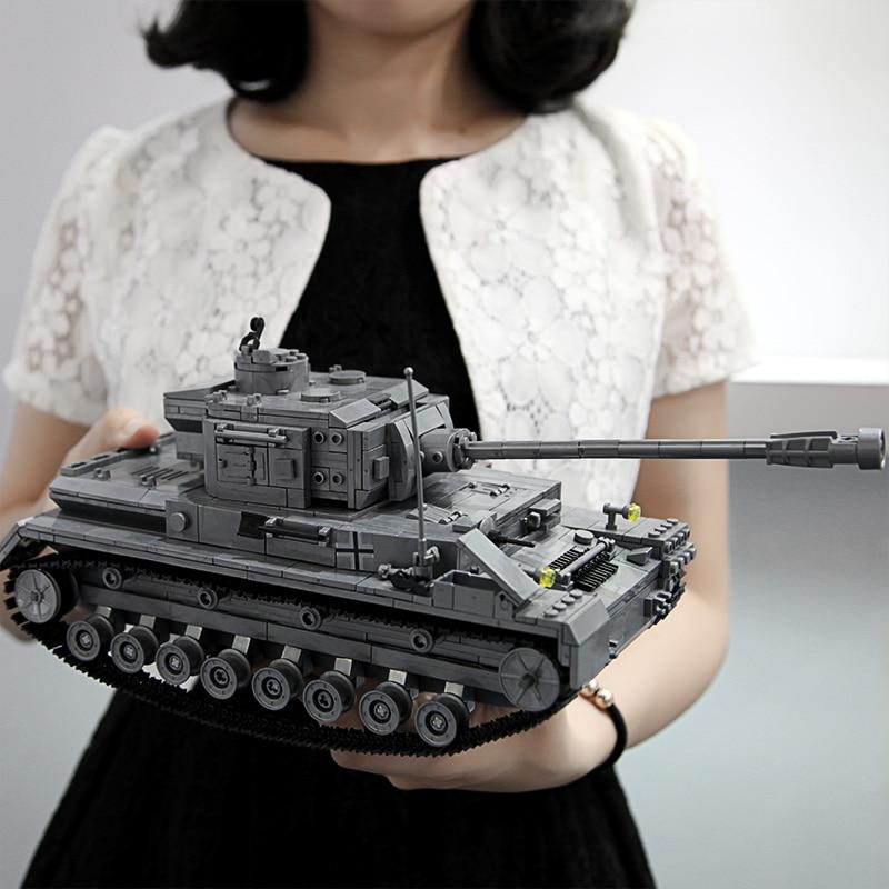 1193pcs 36cm Length Large Panzer IV F2 Tiger Tank Building Blocks Models Compatible  WW2 Military Army Tanks Toys