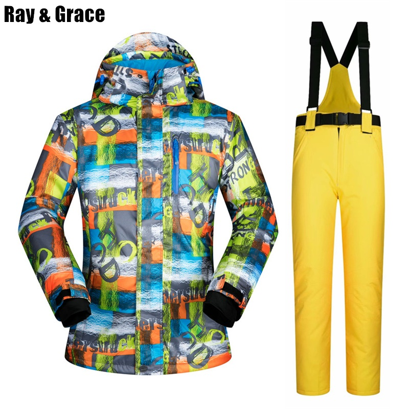RAY GRACE Outdoor Ski Suit Men Winter Thermal Jacket Pants Set Snowboarding Mountain Skiing Clothing Waterproof Windproof Snow 2018 new lover men and women windproof waterproof thermal male snow pants sets skiing and snowboarding ski suit men jackets