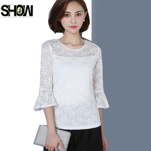 aca53d1f73f9c Lace Blouses Shirts New Korean Style Designer Tops Women Fashion Flare  Sleeve Cute Elegant Ladies Work Crochet White Lace Blouse