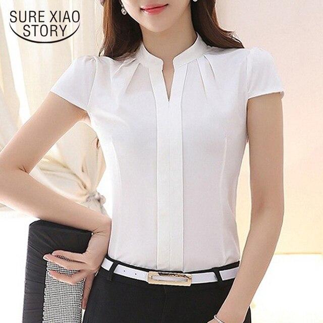 765cbc76ce De las mujeres de color sólido camisa blusa damas slim de moda de verano  casual jpg