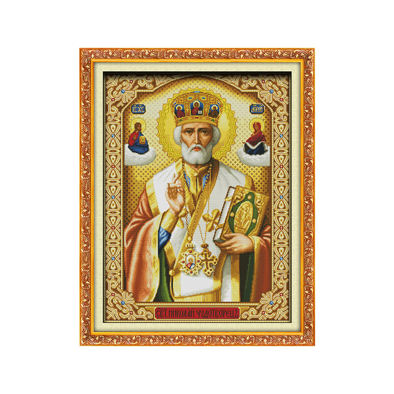 11CT 14CT Cloth Cross Stitch Kit Pope Character Series DIY Spiraling Needlework Manual Chinese Characteristic Embroidery
