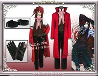 Anime Black Butler Grell Sutcliff Cosplay Costume Death Shinigami Red Uniform Outfit Carnaval Halloween Costumes for Women Men