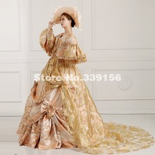 High-end Gold Floral Printed 19th Century Queen Marie Antoinette Dress  Rococo Renaissance Medieval Women c9cfc537cbe2
