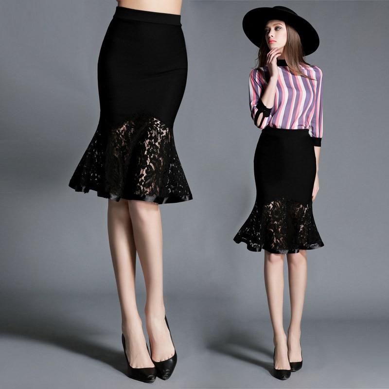 7c7077f94 2016 New Summer Women Trumpet Skirts Fashion High Waist Knee-Length Skirts  Special Lace Skirts Hem Mermaid Female Saias