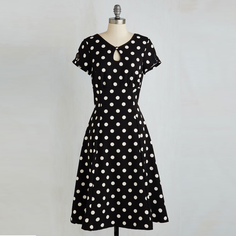 New Arrival Vintage <font><b>Style</b></font> 1950s 60s Pinup Polka Dots Printed <font><b>Halter</b></font> <font><b>Dress</b></font> <font><b>Sexy</b></font> A-line Summer V-neck Retro <font><b>Dresses</b></font> image