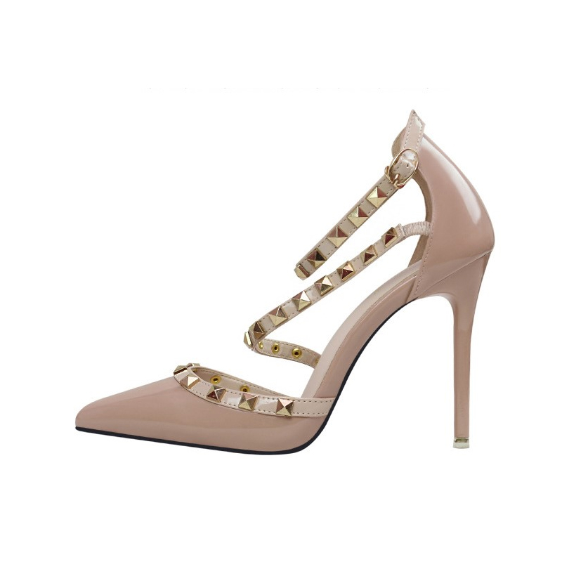 597616c5efe3 Runway Scarpin Nude High Heels Pointed Toe Rivet Pumps Fashion Brand Women  Shoes 2017 Italian Ankle Strap Size 34 39 Stud-in Women s Pumps from Shoes  on ...
