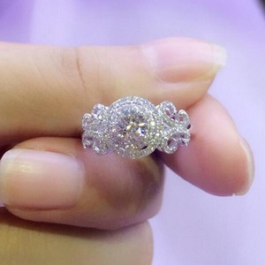 Image 2 - Vecalon yeni kadın takı yüzük yuvarlak kesim 2ct AAAAA zirkon Cz 925 ayar gümüş nişan düğün Band yüzük kadınlar için