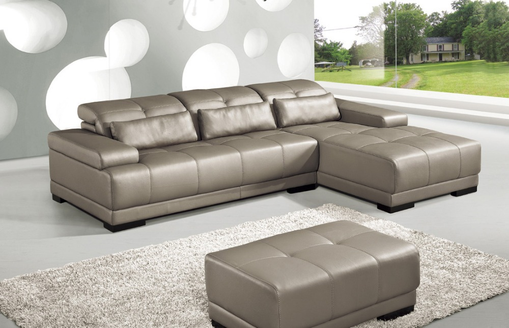Cow Genuine Leather Sofa Set Living Room Sofa Furniture Couch Sofas  Sectional/corner Sofa With Functional Headrests In Living Room Sofas From  Furniture On ...