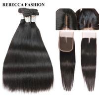 Rebecca Salon Hair Brazilian Hair Weave 3 Bundles With Closure Straight Remy Human Hair Bundles 4x4
