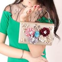 Women Evening Bag Leatherette All Seasons Wedding Event Party Formal MinaudiereRhinestone Satin Flower Pearl Detailing Bead