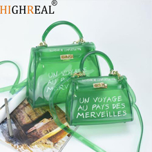 2019 Beach Transparent Bag Women Big Clear Orange Pvc Transparent Women Plastic Bag PVC Jelly Handbags Letter Printing Bag