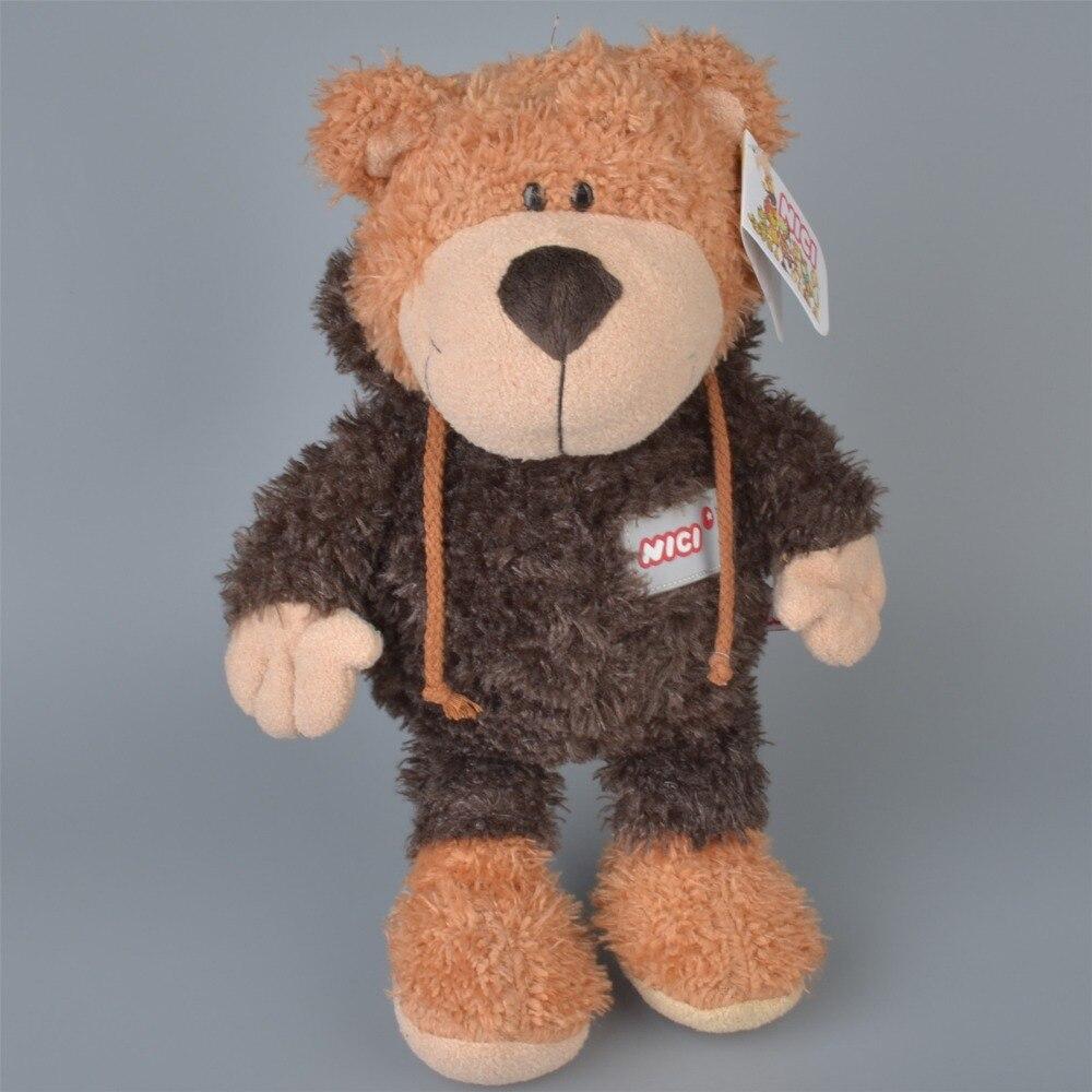 Kawaii 35 cm Carry a hat Brown Bear Plush TOY DOLL Stuffed Wedding Gift Bouquet Decor